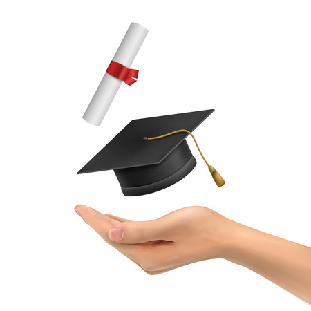 thesis: 3d hand holding a graduation hat and diploma over white background Illustration