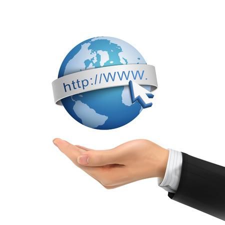 3d hand holding globe Internet symbol over white background Illustration
