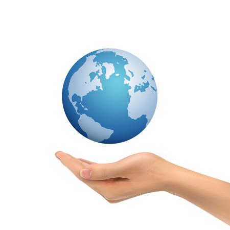 hand holding globe: 3d hand holding globe symbol over white background