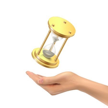 gold rush: 3d hand holding a hourglass over white background