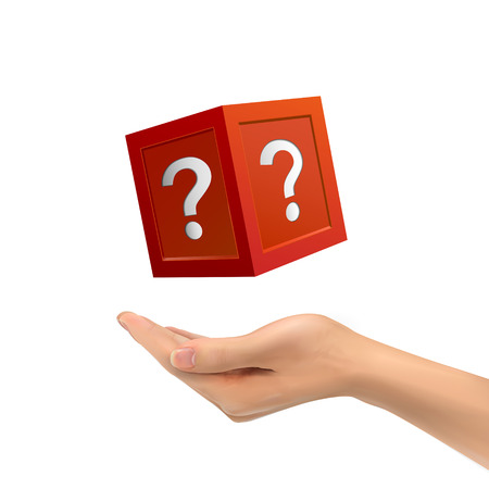 mystery: 3d hand holding mysterious box over white background