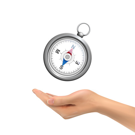 3d hand holding compass over white background