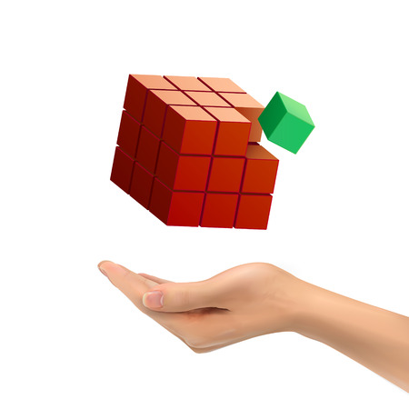 puzzling: 3d hand holding magic cube over white background