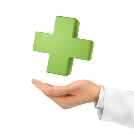 medical cross symbol: 3d hand holding medical symbol over white background Illustration