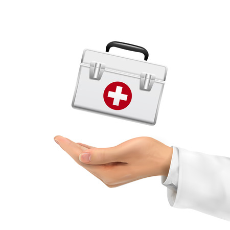 emergency kit: 3d hand holding first aid kit over white background