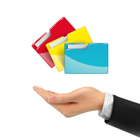 3d hand holding colorful folders over white background Illustration