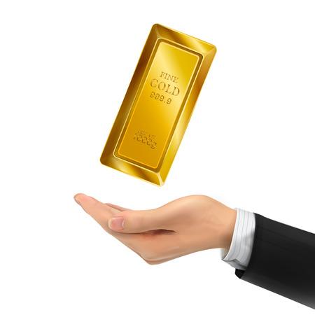 bullion: 3d hand holding bullion over white background Illustration