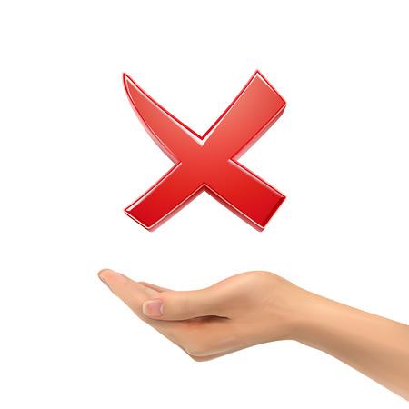 cross mark: 3d hand holding red cross mark over white background Illustration