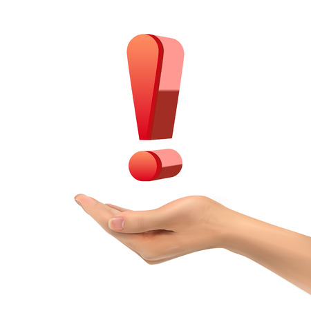 interjection: 3d hand holding exclamation over white background