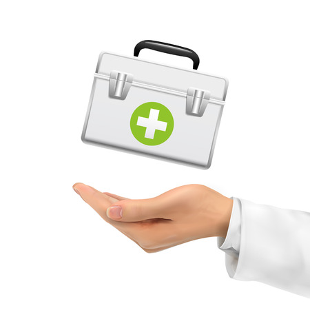 first aid box: 3d hand holding first aid kit over white background