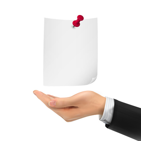 hand holding paper: 3d hand holding paper sheet for memo with pin over white background