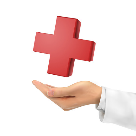 forewarn: 3d hand holding medical symbol over white background Illustration