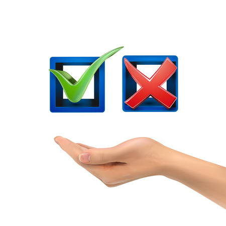 green check mark: 3d hand holding red and green check mark icons over white background