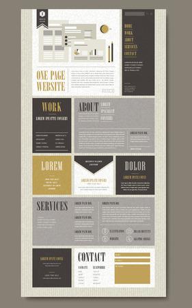 신문 스타일의 레트로 한 페이지 웹 사이트 템플릿 디자인