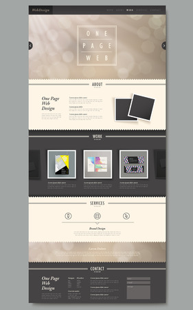 one: one page website template design with blurred background Illustration