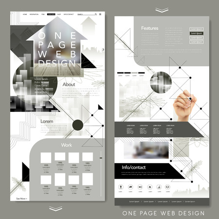 web site design: modern one page website template design with blurred background Illustration