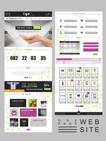 web site design: modern creative one page website design template