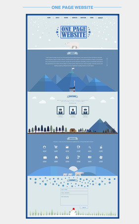 north pole: north pole scene one page website design template in flat style Illustration