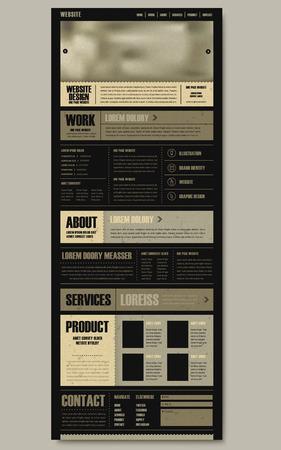 retro één pagina website template design in de krant stijl Stock Illustratie