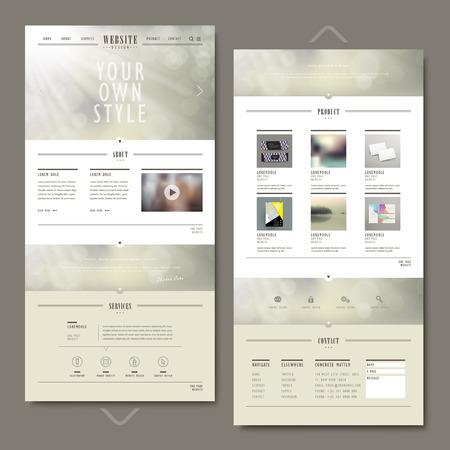Eine Seite Website-Vorlage-Design mit unscharfen Hintergrund Standard-Bild - 35807586