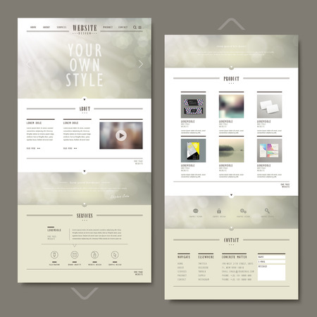 page layout: one page website template design with blurred background Illustration