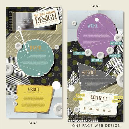kit de costura: concepto de coser una p�gina de dise�o plantilla de p�gina web