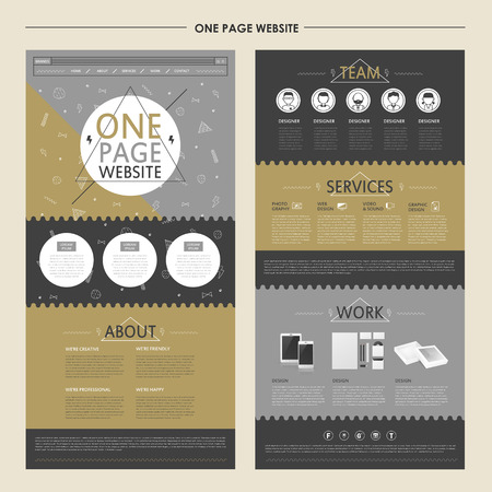 stylish one page website template design in flat style 일러스트