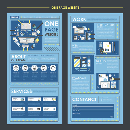 ui design: flat one page website template with workplace concept