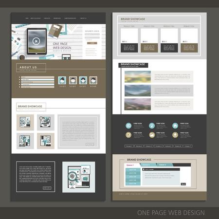 現代の技術 1 つのページのウェブサイトのデザイン テンプレート