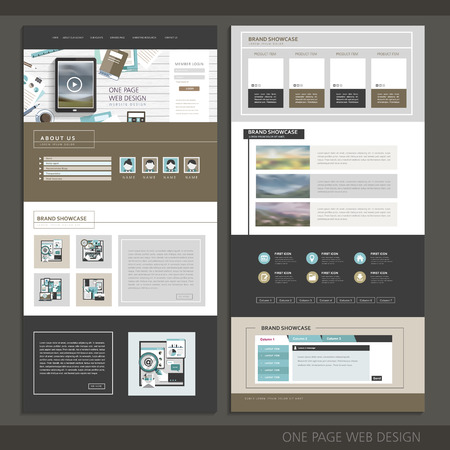 moderne technologie een pagina website design template Stock Illustratie
