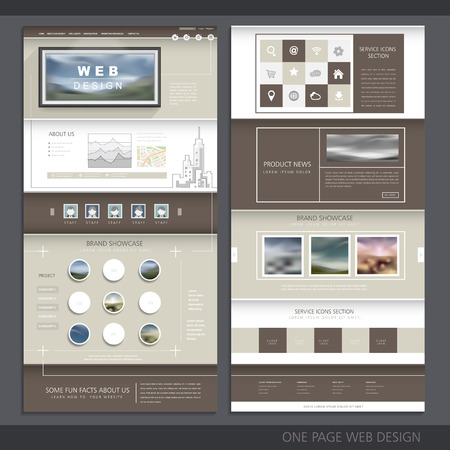 website template: one page website template design with blurred background Illustration