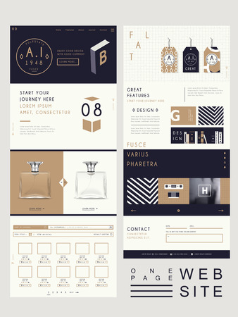 elegante stijl een pagina website design template Stock Illustratie