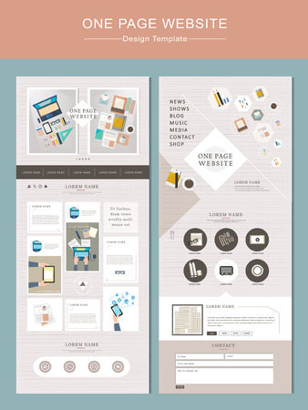 web site: flat one page website template with workplace concept