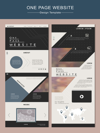 page layout: contemporary one page website design template in flat design