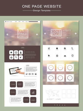 responsive design: one page website template design with blurred background Illustration