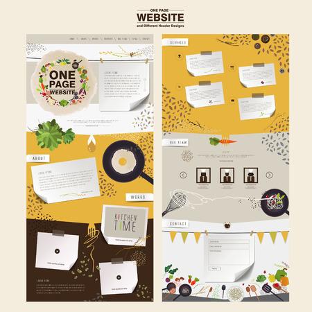 フラットで素敵なキッチン シーン 1 ページのウェブサイトのデザイン テンプレート  イラスト・ベクター素材