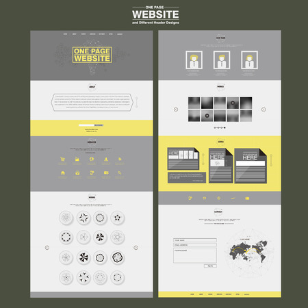 yellow design element: elegant one page website design template in flat style Illustration