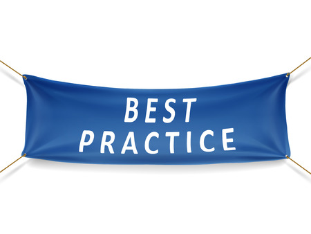 rope way: best practice blue banner isolated over white background