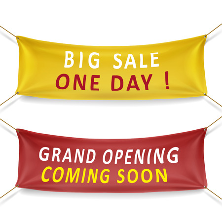 big sale and grand opening banners isolated over white background