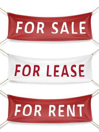 for rent: for sale, for lease and for rent banners isolated over white background