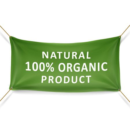 organic cotton: natural 100 percent organic product banner isolated over white background