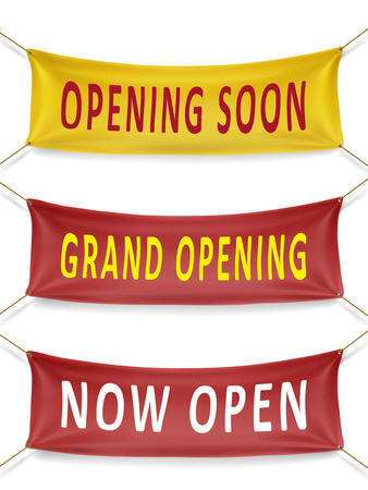 grand opening: opening soon, grand opening and now open banners over white background