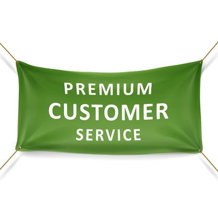 client service: premium customer service banner over white background Illustration
