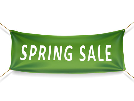 spring sale banner isolated over white background Çizim