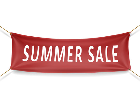 summer sale banner isolated over white background