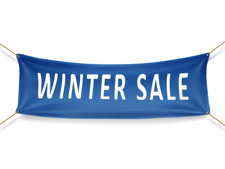winter sale banner isolated over white background Иллюстрация