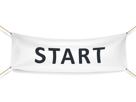 start white banner isolated over white background