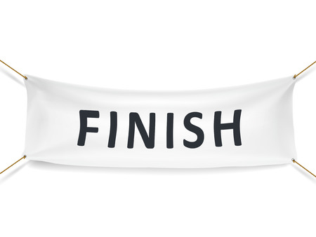 starting line: finish white banner isolated over white background