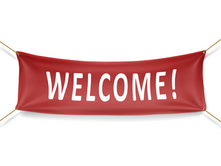 welcome red banner isolated over white background