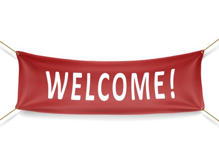 Welkom rode banner geïsoleerd over witte achtergrond Stockfoto - 35977036